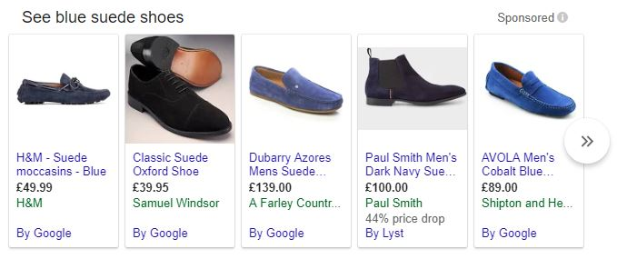 e-commerce adwords strategy search blue suede shoes