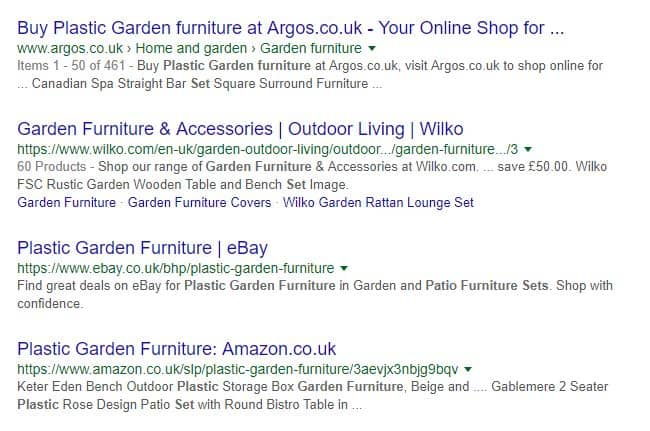 Keyword Research for Blog Posts - plastic garden furniture