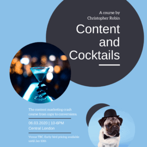 Content and Cocktails flyer 6th March 2020